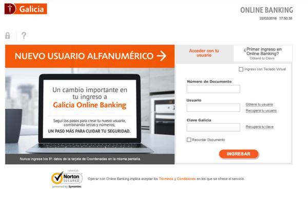 galicia home banking